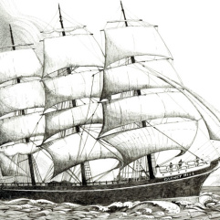 Ink drawing of tall ship Garnet Hill by Annette Abolins
