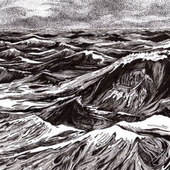 ink drawing of small boat on high seas - Annette Abolins
