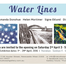 Water Lines exhibition invite Newcastle