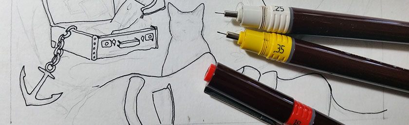 Ink pens and drawing in progress